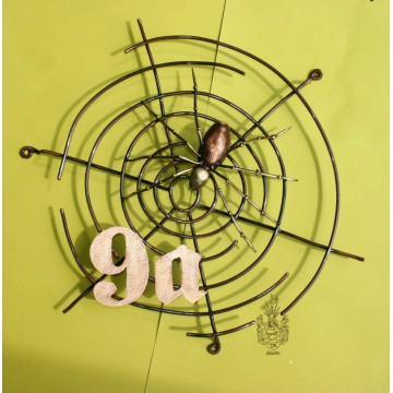Hausnummer Kupfer, Spinnennetz mit Spinne