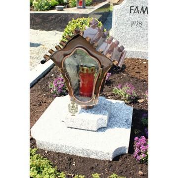 Grablampe mit Glaseinsatz - geschwungene Form / Kupfer
