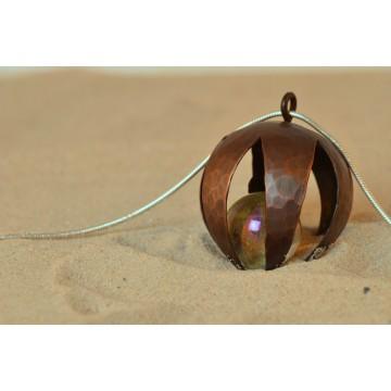 Anhänger Kupfer - Blütenkelch mit Glaskugel