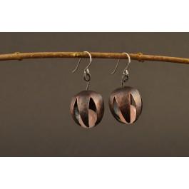 Ohrringe Kupfer - Blütenkelch mit Edelstein