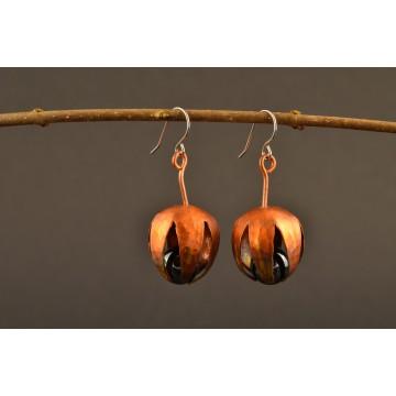 Ohrringe Kupfer bunt - Blütenkelch mit Edelstein