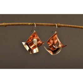 Ohrringe Silber / Kupfer - geschwungene Flügel