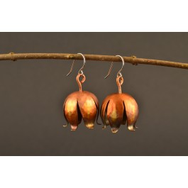 Ohrringe Kupfer - Blüte bunt